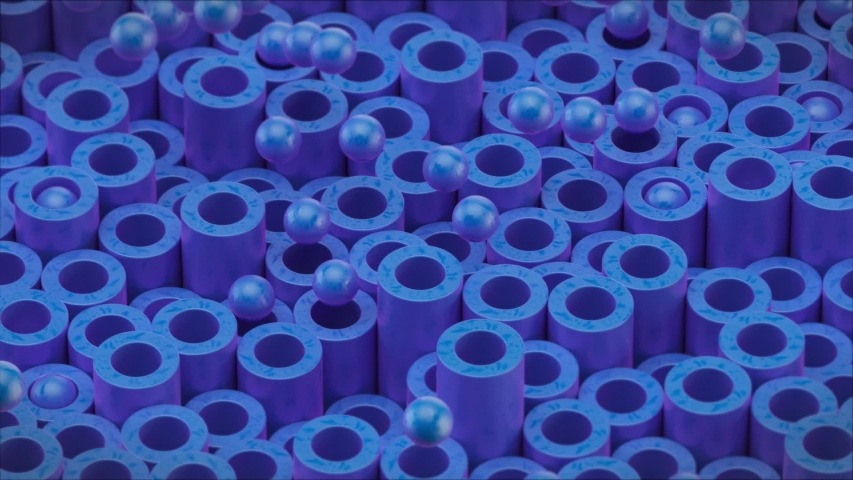 Animated cylindrical tubes and balls. Beautiful blue color and surface texture. Good background for your streaming video and motion design. 3d render | Shutterstock HD Video #1040640314
