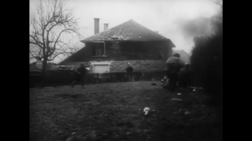 CIRCA 1940s - German tanks devastate a small town during World War 2 in this German propaganda film