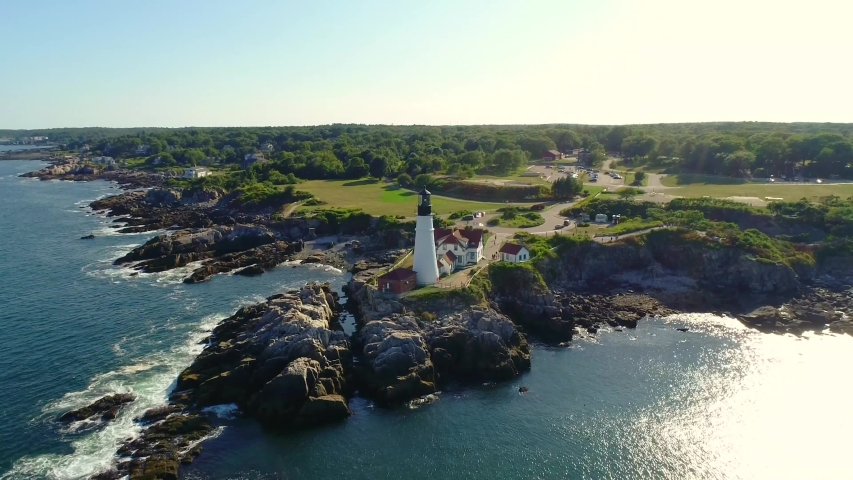 Maine/USA   aerial video of lighthouse in Maine taken by drone camera