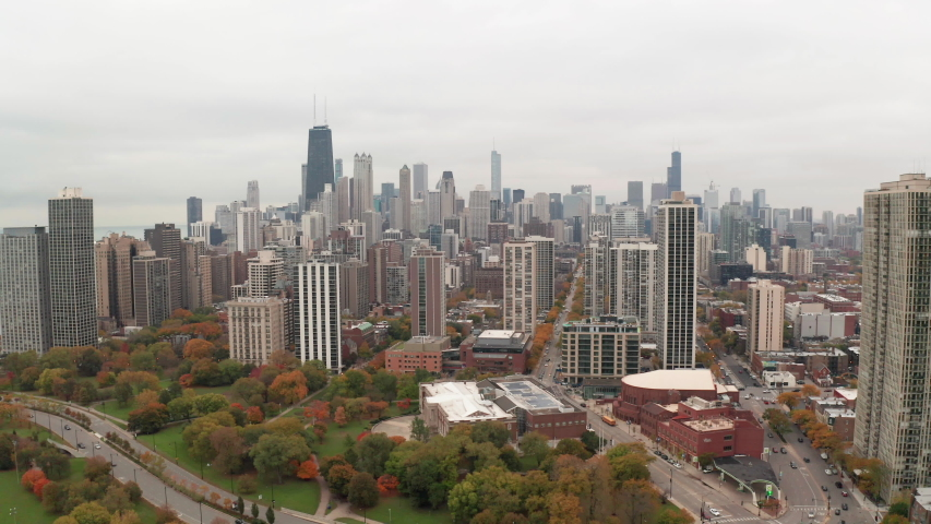 Chicago downtown skyline aerial fall foliage | Shutterstock HD Video #1040655068