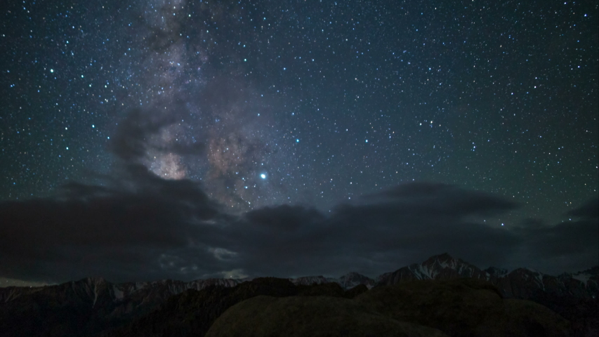 Astro time lapse of Milky Way galaxy over Sierra Nevada Mountains in California