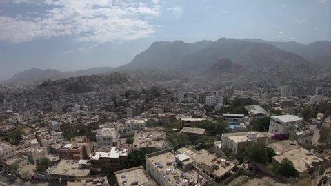 Taiz  Yemen - 04 Feb 2017 : ( time lapse ) Morning scene in Taiz City- Yemen ,which shows Alqahera historic