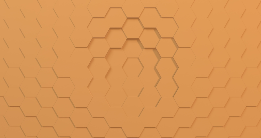Bright yellow 3D animation of a seamless loop of hexagon beehive. Great background for trends or kids show. Projection mapping essential.