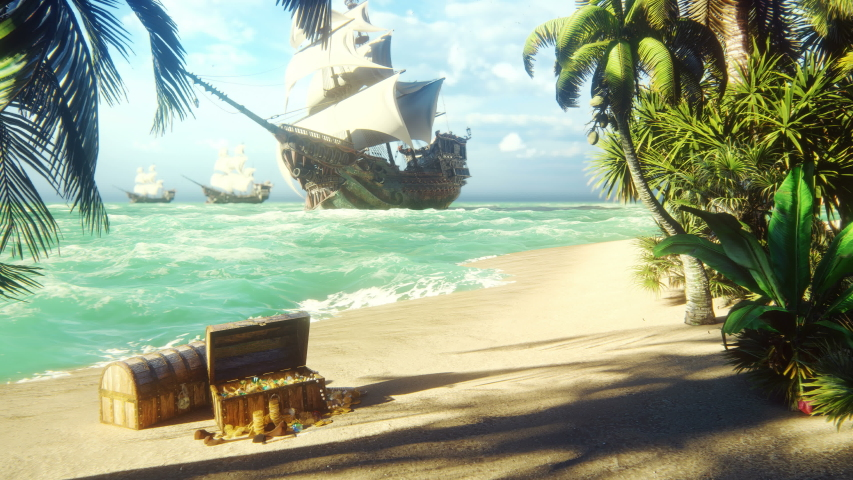 Sand, sea, sky, clouds, palm trees and a clear summer day. Pirate frigates docked near the island. Pirate island and chests of gold. Beautiful looped animation. Royalty-Free Stock Footage #1040679989