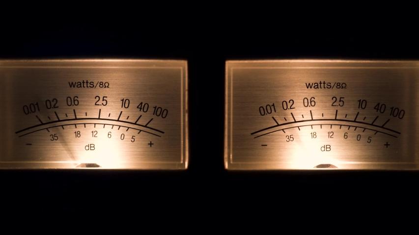 Stereo decibel meters with backlit - part of sound equipment 4k | Shutterstock HD Video #1040688557