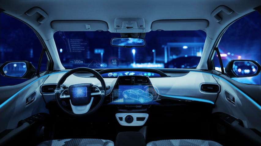 empty cockpit of vehicle, HUD(Head Up Display) and digital speedometer. autonomous car. driverless car. self-driving vehicle. Royalty-Free Stock Footage #1040691389