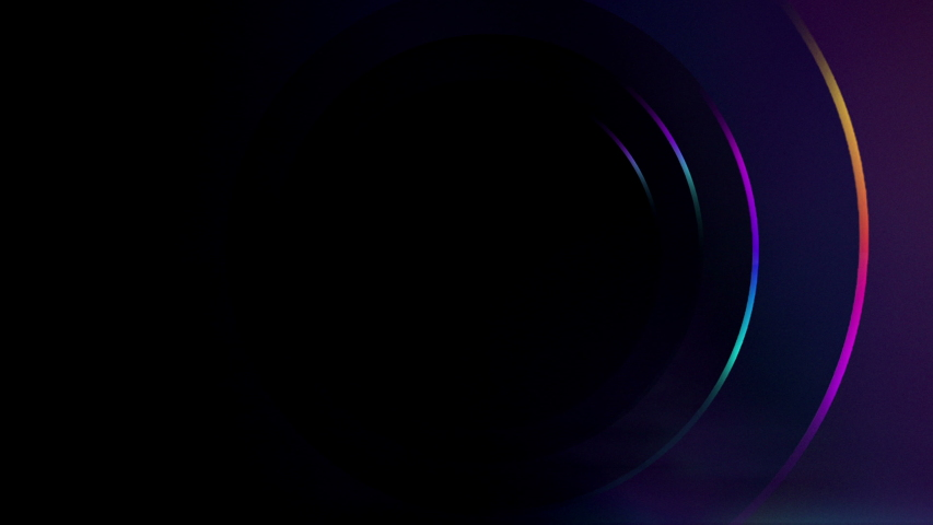 Futuristic Sci-Fi background of Neon Ring Tube Vibrant Purple And Blue Glowing Lights in Reflective Surface In Dark Room and Empty Space for Text or Product 3D Rendering animation seamless loop 4K | Shutterstock HD Video #1040707130