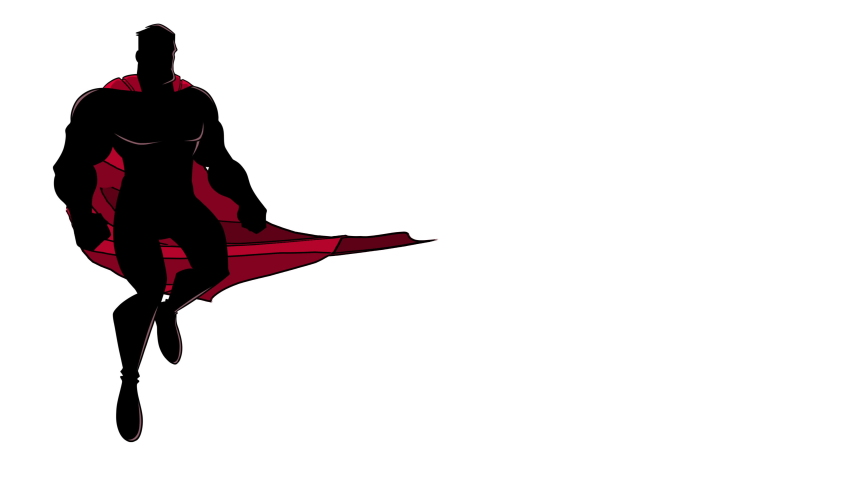 Seamless looping animation with silhouette of cartoon superhero flying up during mission, on white background and in 2 versions.   Shutterstock HD Video #1040717660