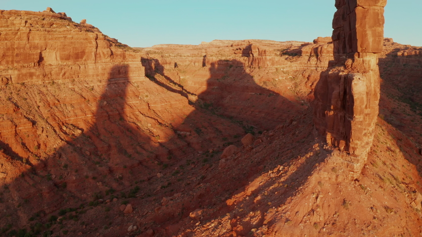 Aerial shot of the amazing rock formations on southern Utah.   Shutterstock HD Video #1040724350