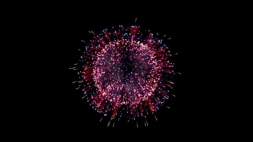 Colorful fireworks on black background. Set Of three beautiful, festive fireworks | Shutterstock HD Video #1040728163