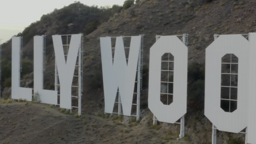 AERIAL: Close Up of Hollywood Sign Letters at Sunset // Los Angeles, California