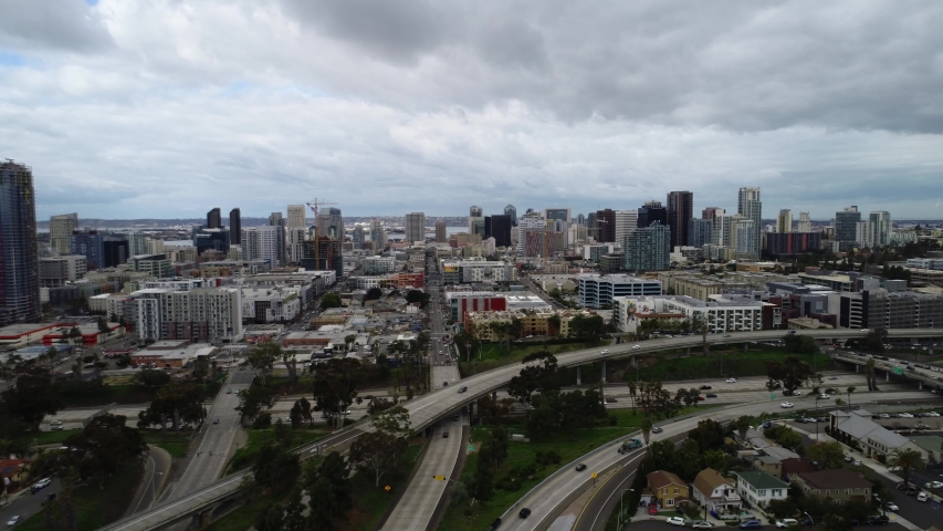 San Diego , CA / United States - 02 20 2019: Aerial 4k clear commercial drone footage shot of the complete San Diego downtown skyline looking west from Golden Hill, San Diego, California, USA - 4K