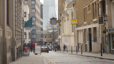 London / United Kingdom (UK) - 01 17 2019: Office space to let in the historic centre of the City of London with view on the famous Shard skyscraper which is the tallest habitable building in Europe.