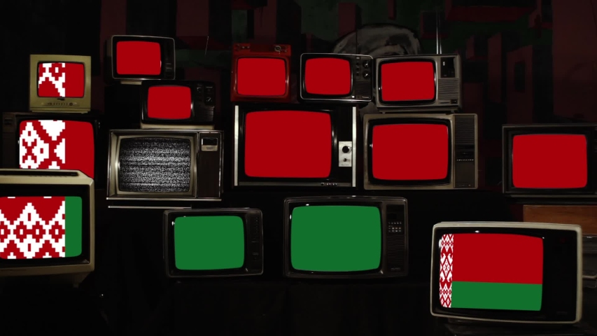 Flag of Belarus and Retro TVs. Zoom In.  | Shutterstock HD Video #1040785994