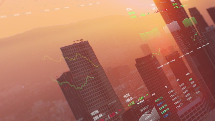 3D shot of Los Angeles with animated financial information related to stock market, stocks, trading, bear market, bull market, trading. Share holder value video.