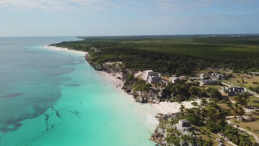Tulum ruins in the Yucatan in Mexico - a popular destination for tourists. Overlooking the Caribbean Sea in the Riviera Maya. Aerial View
