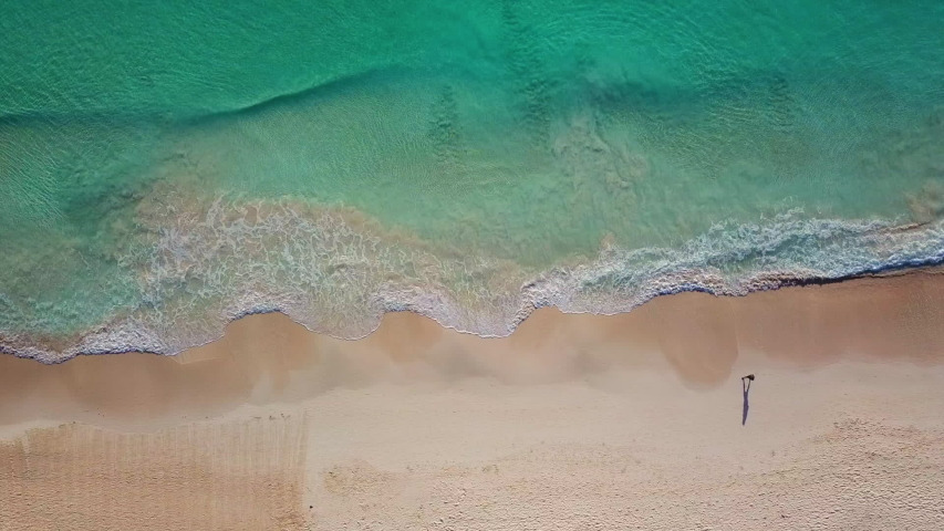 Beautiful tropical beach top view. Aerial drone shot of turquoise sea water at the beach. Top view of beautiful beach.  Caribbean seaside beach with turquoise water and waves aerial view. | Shutterstock HD Video #1040805863