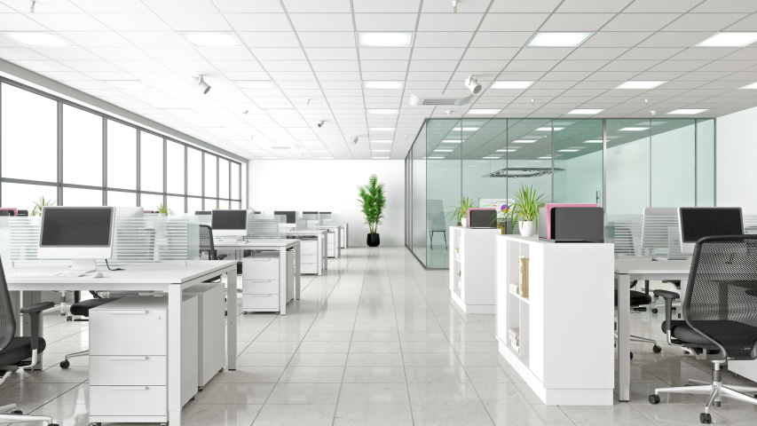 Modern Corporate Work space. Open Office And Board Room - 3d Rendering | Shutterstock HD Video #1040819849