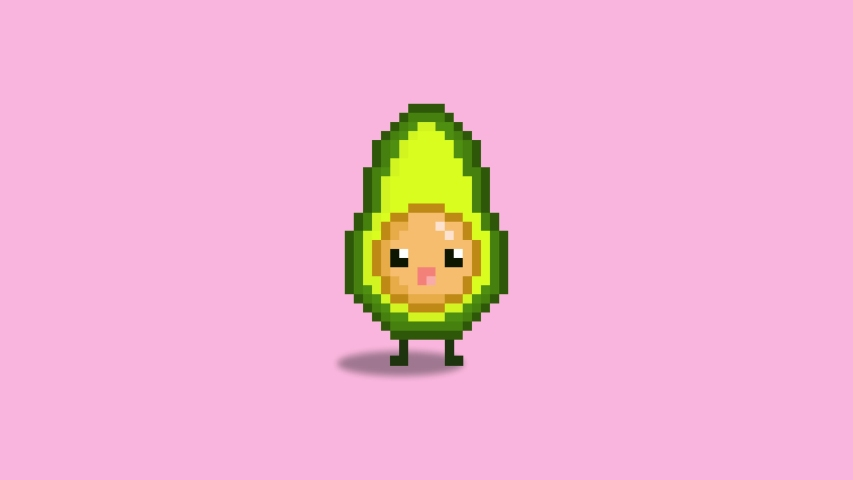 Animated avocado pixel art on a pink background. Cute Pixel Avocado. | Shutterstock HD Video #1040821622
