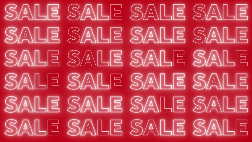 Neon flashing sale sign on a bright red background   Shutterstock HD Video #1040837030