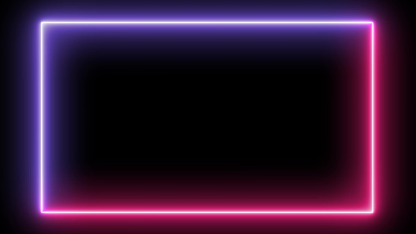 Abstract light neon frame on black background. Blue purple laser show looped animation . 4K video #1040844293