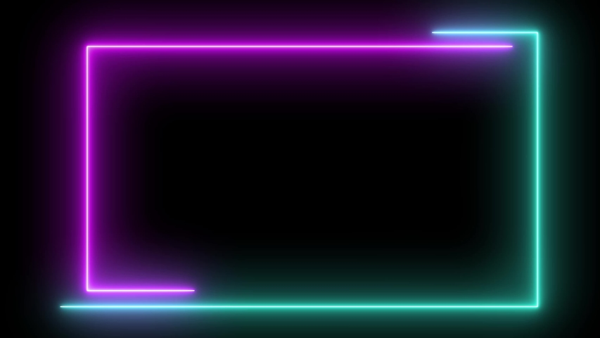 Abstract light neon frame on black background. Green purple laser show looped animation . 4K video #1040844296
