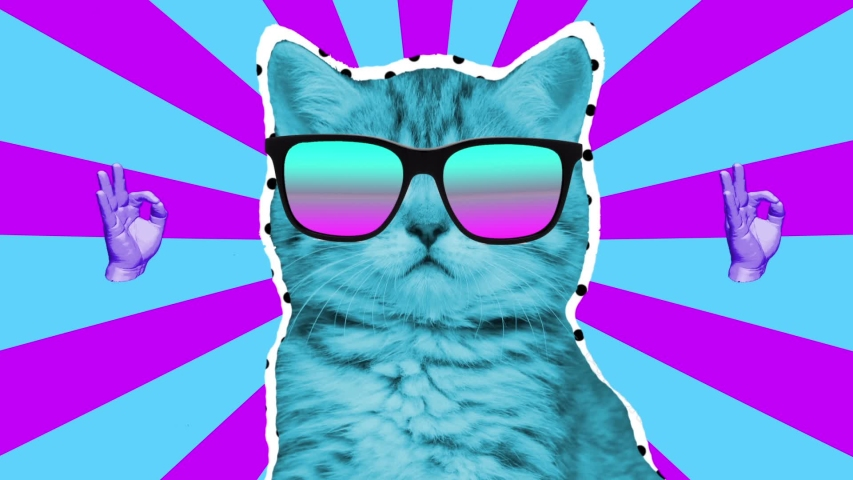 Animation art. Looping graphic animation in zin art style. Laser beams shoots from a cat's eyes. The head of a cat in 3d space. | Shutterstock HD Video #1040873591