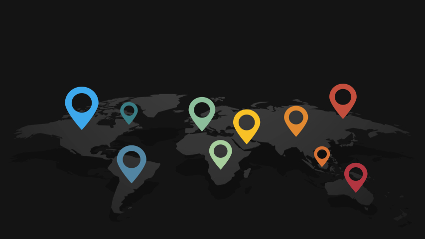 abstract black world map with color location concept pins in the world #1040895080