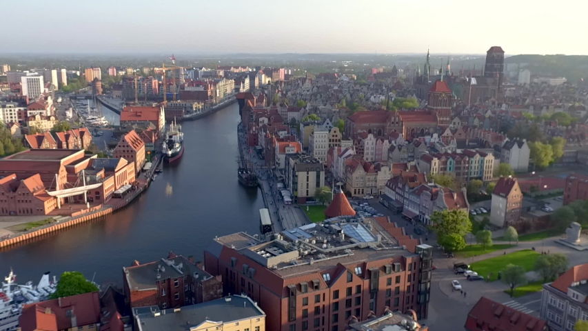 Drone footage of the Old Town in Gdansk. | Shutterstock HD Video #1040910062