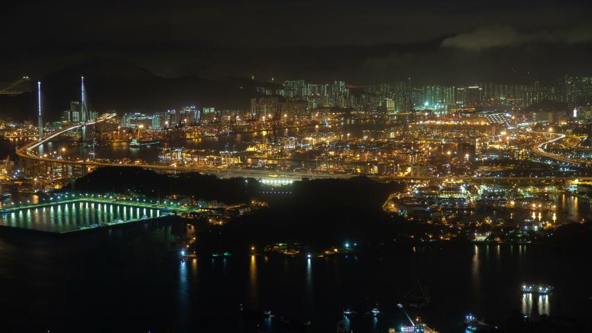 Timelapse modern Hong Kong city with bright illumination   Shutterstock HD Video #1040919311