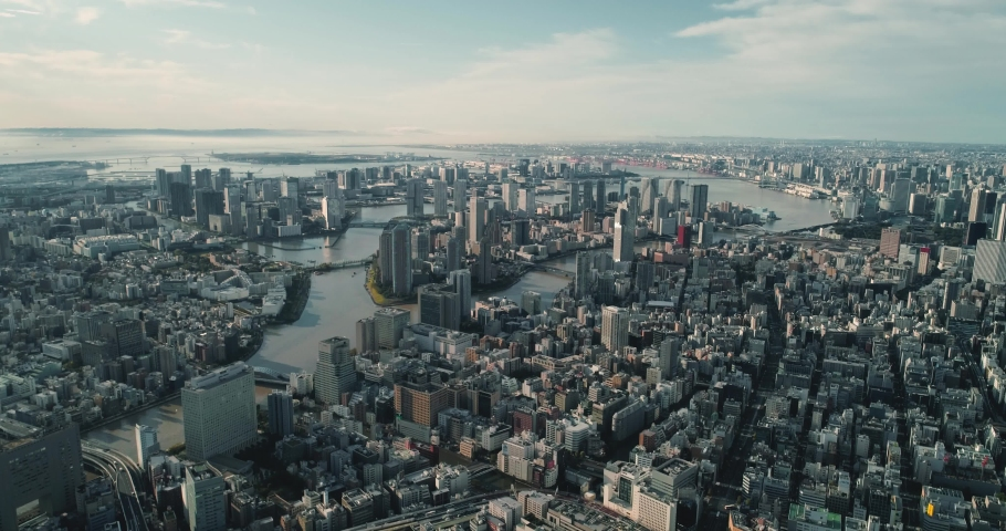 Aerial shot of Odaiba at dawn, Tokyo, Japan. | Shutterstock HD Video #1040928875