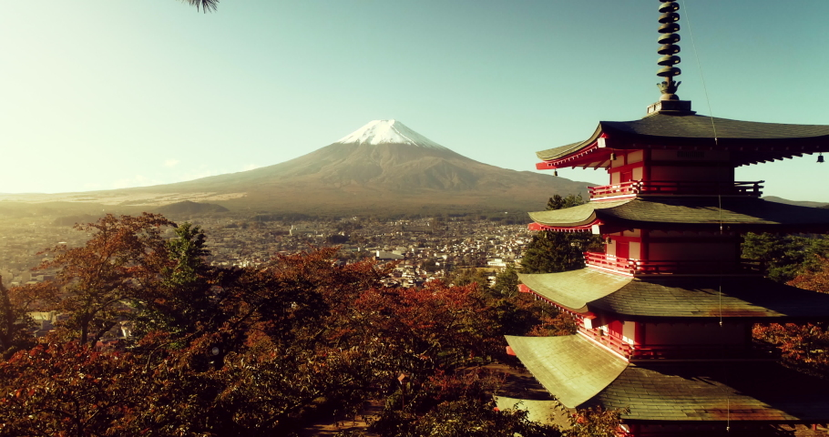 Aerial shot of Fujiyoshida, Japan at Chureito Pagoda and Mt. Fuji in the Autumn