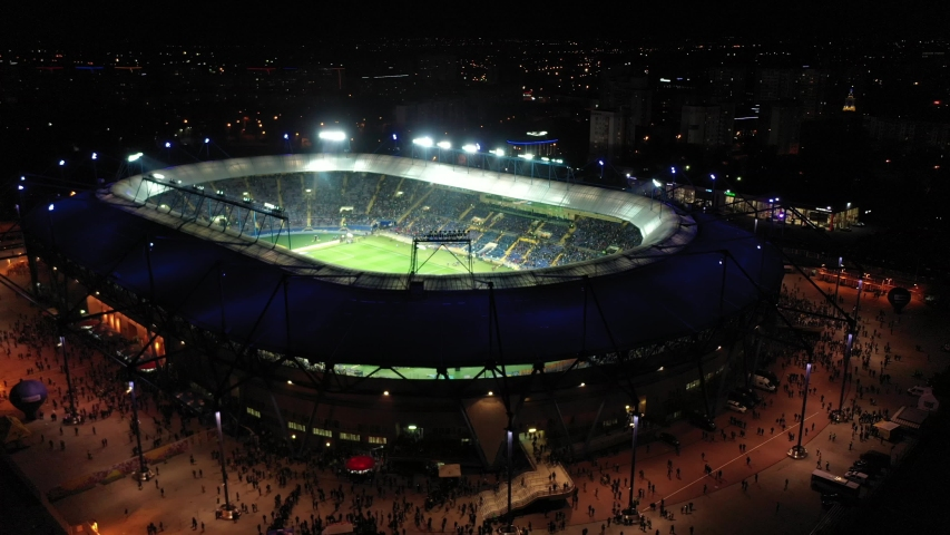 Ukraine, Kharkov, November 10, 2019. Metalist Stadium, Football stadium from a height of 4k video from a drone.   Shutterstock HD Video #1040929721