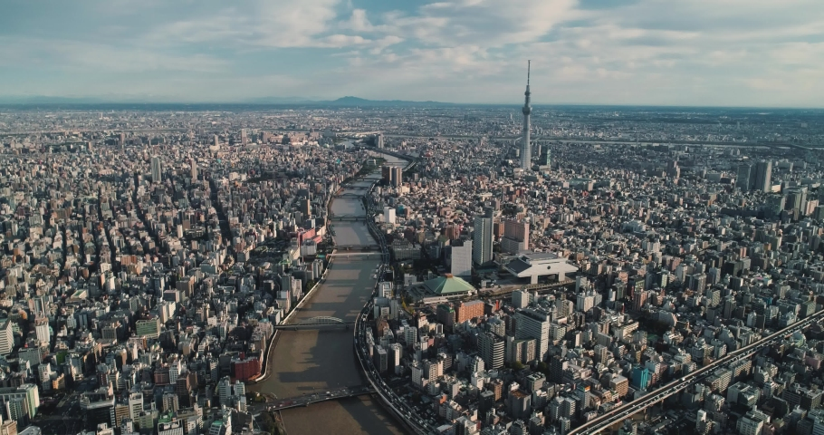Aerial shot of City Tokyo at dawn, Japan | Shutterstock HD Video #1040930171