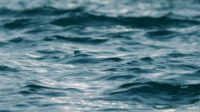 Blue water waves surface, beautiful background with copy space. Fresh drinking water, colorful video. Environmental problems, lack of drinking water, climate change, drought, global warming.