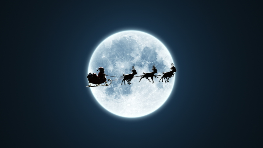 Santa Claus on a Reindeer Sleigh Flying on the Background of the Moon, Beautiful 3d Animation, Chroma Key Version Included. 4k