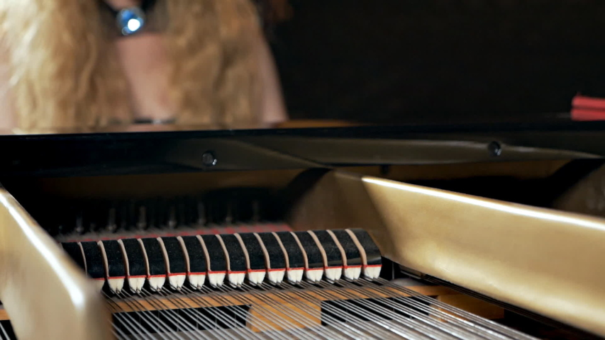 A girl in a black dress and with a mask on her face plays the piano. Unusual musical performance. Piano strings | Shutterstock HD Video #1040936426