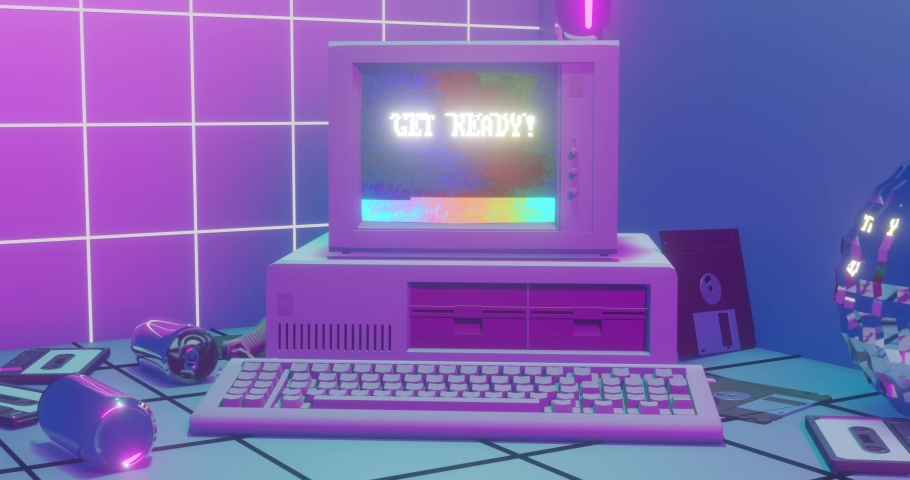 80s Style Retrowave Aesthetic, Vaporwave and Synthwave design motion background with old pc. Retro Futurism