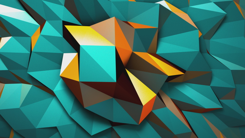 Geometric teal and orange abstract background colorful blue turquoise triangles noise morphing 3d animation loop. CGI motion design c4d render