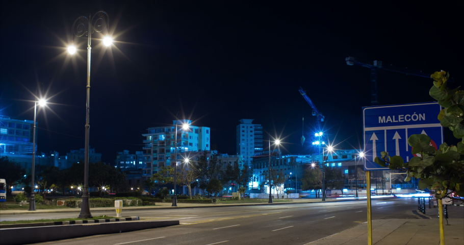 Malecon Road Sign with Traffic and Construction Site on Background, Long Exposure Timelapse, Havana, Cuba