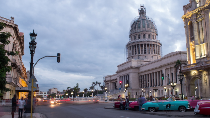 National Capitol Building in Havana with Traffic Lights at Night Long Exposure Timeplapse