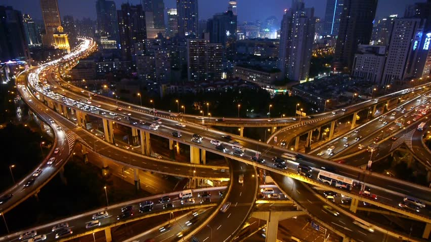 Aerial View of freeway busy city rush hour heavy traffic jam highway at night,shanghai Yan'an East Road Overpass interchange. gh2_07404 | Shutterstock HD Video #10409516