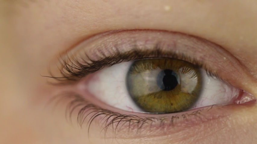 Slow motion. The movement of the pupil of the eye when opening the eyelid. Beautiful iris. Close-up. | Shutterstock HD Video #1040964563