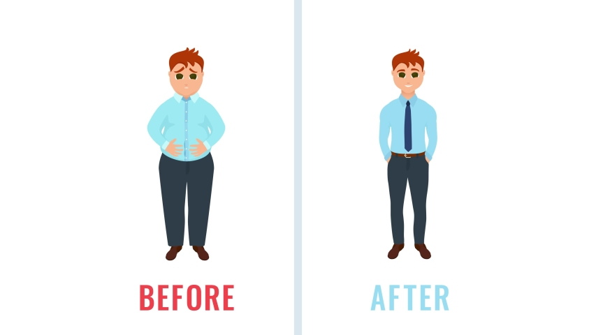 Before After Weight Loss Cartoon Stock Video Footage 4k And Hd Video Clips Shutterstock