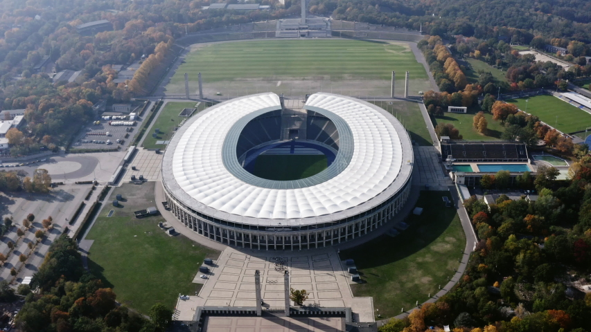 OCTOBER 20, 2019, Berlin, Germany : Olympic Stadium is a sports stadium at Olympia park in Berlin, Germany. 74,649 seats arena built for the 1936 Olympics. Olympiastadion is home ground of Hertha BSC