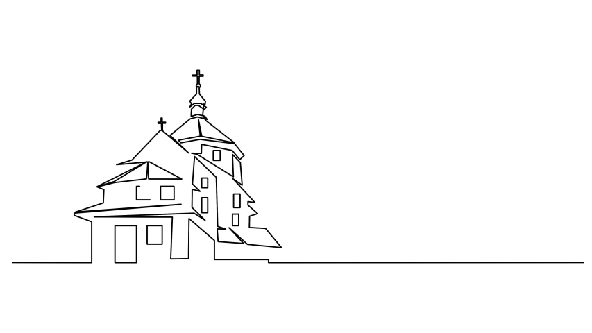 Continuous line drawing of Christian churches building concept, symbol, construction,  illustration simple. Royalty-Free Stock Footage #1040988305