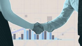 Financial cutout stop-motion animation of a business handshake with coins falls and buildings rising. Transition with graphs and charts in New York City. Put your own text on top of this video.