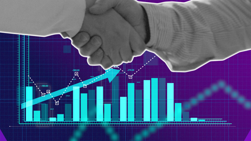 Corporate business handshake and projection growth graph cutout stop motion animation. Bright purple and blue colors. 4K