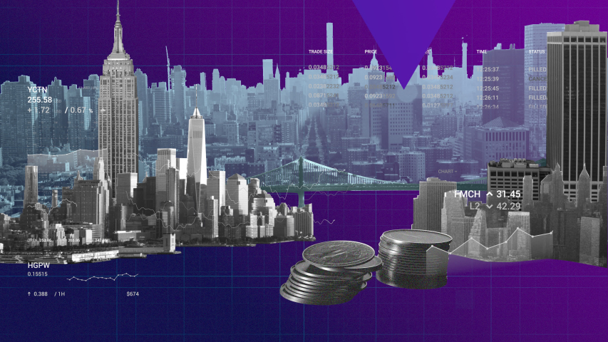 Background animation for annual report presentation showing charts, graphs and coins falling over skyline of New York city skyscrapers.  | Shutterstock HD Video #1040999237
