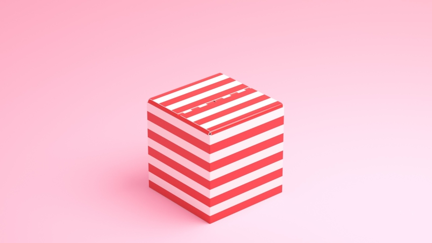 A red-white gift box with colorful balloons inside. Sweet background. The present opens, then balloons lift. Birthday. B-day celebration. Valentines. Anniversary. Couple. Family. Pitching camera.